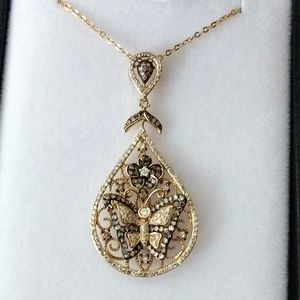 14k Yellow gold Diamond butterfly teardrop pendant